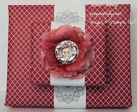 40th anniversary gift wrap - creped paper flower - Stampin' Up! - stampin up - Sarah Fleming - Prepare to Dye