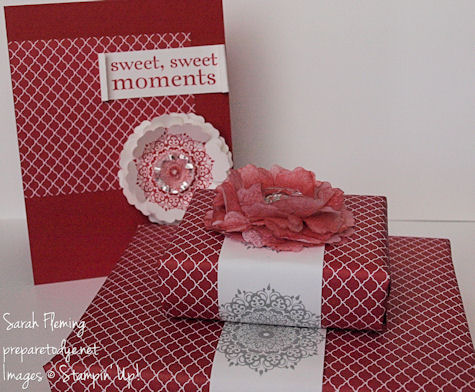 40th anniversary gift wrap with matching card - Stampin' Up! - stampin up - ruby anniversary - handmade cards - creped paper flower - Sarah Fleming - Prepare to Dye