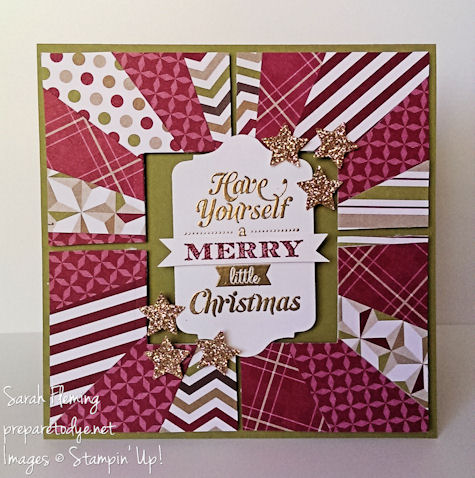 stampin' up! - stampin up - Merry Little Christmas - handmade Christmas cards - handmade cards - Christmas cards - sunburst technique - Sarah Fleming - Prepare to Dye