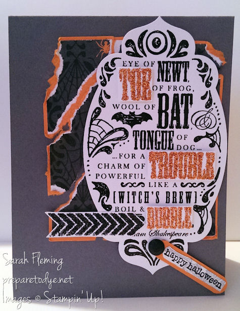 Stampin' Up! Toil & Trouble, A Banner Christmas, Teeny Tiny Wishes - Werewolf Attack card - handmade cards - Sarah Fleming - Prepare to Dye