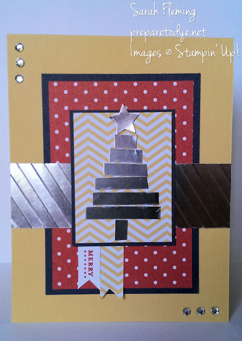 Christmas card using non-traditional colors and paper piecing - Stampin' Up! - Sarah Fleming - Prepare to Dye