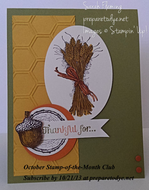 October Stamp-of-the-Month Club - Subscribe by 10/21/13 - Stampin' Up! Truly Grateful - Sarah Fleming - Prepare to Dye