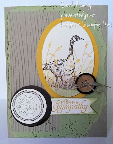 Handmade sympathy card - Stampin' Up! Wetlands and Truly Grateful - masculine card