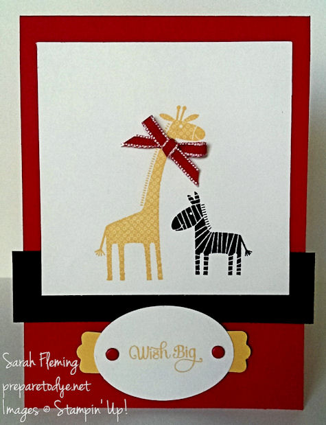 Wish Big, Baby Zebra - Stampin' Up! Zoo Babies and A Dozen Thoughts - Kid birthday card - Sarah Fleming - Prepare to Dye