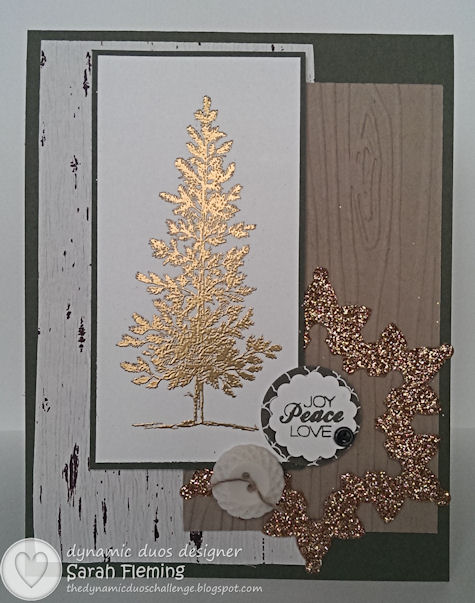 Winter is Coming - Dynamic Duos #78 - Stampin' Up! Lovely as a Tree and Christmas Tagables photopolymer set - Festive Flurry framelits - Sarah Fleming - Prepare to Dye