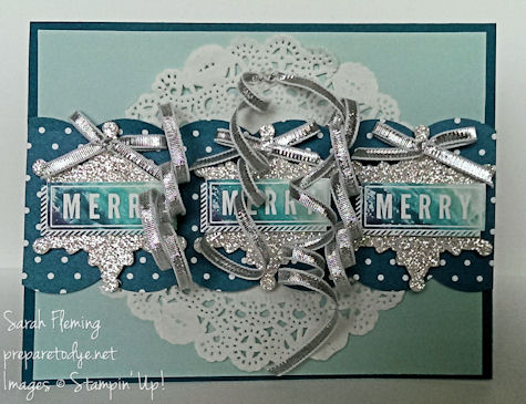 Silver & Ombre Christmas card - Stampin' Up! - A Banner Christmas - Sarah Fleming - Prepare to Dye
