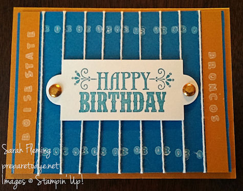 Smurf Turf handmade birthday card - Stampin' Up! - Sarah Fleming - Prepare to Dye