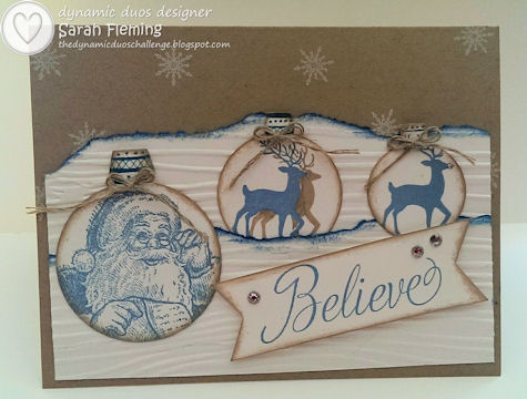 Santa & His Team Ornaments - Dynamic Duos #83 - DD#83 - Stampin' Up! Santa's List and Warmth & Wonder, Holiday Ornaments Framelits, Snowflake Soiree - Sarah Fleming - Prepare to Dye