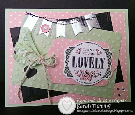 Stampin' Up! Sale-A-Bration goodies - You're Lovely stamps, Banner punch, Decorative Dots embossing folder - Dynamic Duos #89 - DD#89 - Sarah Fleming Prepare to Dye