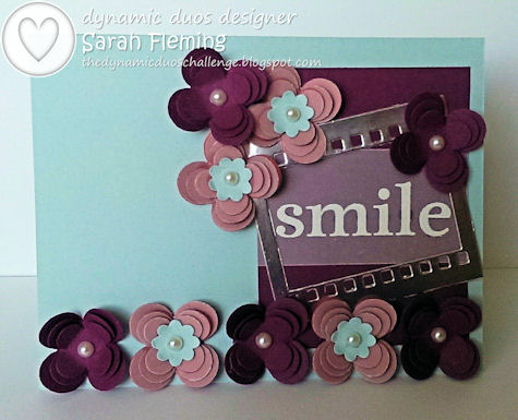 Stampin' Up! handmade cards - Happy Day with Floral Fusion Sizzlits and On Film framelits - Dynamic Duos #95 - Sarah Fleming Prepare to Dye