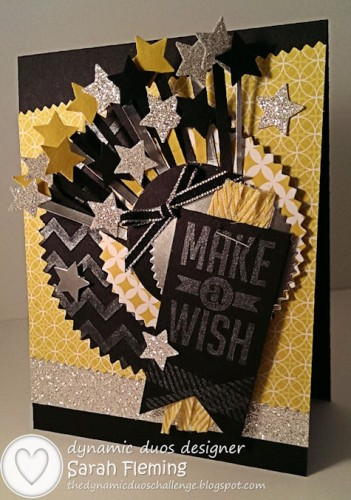 Stampin' Up! handmade cards - Perfect Pennants, Chevron embossing folder, Starburst framelits, Illuminate glimmer ink - Sarah Fleming - Prepare to Dye