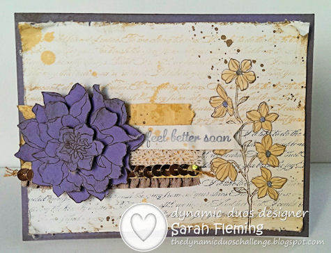 Stampin' Up Peaceful Petals & Express Yourself - Sarah Fleming - Prepare to Dye - One Design, Two Styles