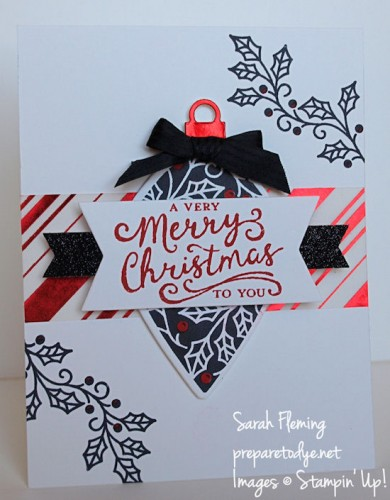 Stampin Up! 2015 holiday catalog -  Embellished Ornaments, Reason for the Season - Sarah Fleming - Prepare to Dye