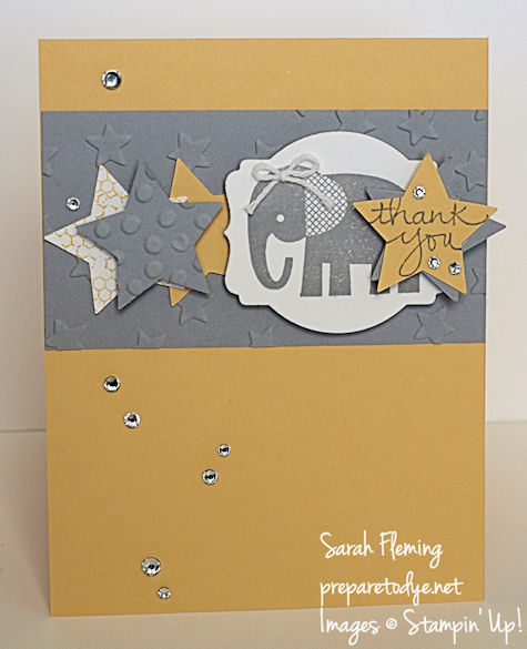 Stampin' Up! baby thank you card for FMS200 - Zoo Babies and Endless Thanks - Sarah Fleming - Prepare to Dye