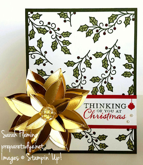 Stampin' Up! Festive Flower punch, Embellished Ornaments, Among the Branches - handmade Christmas cards - Sarah Fleming - Prepare to Dye