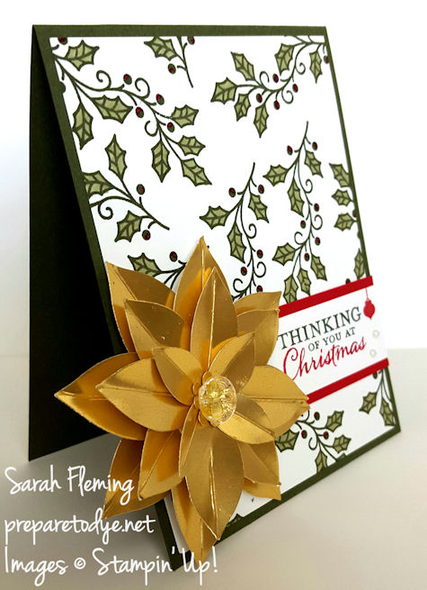Stampin' Up! Embellished Ornaments and Festive Flower punch - handmade Christmas cards - Sarah Fleming - Prepare to Dye
