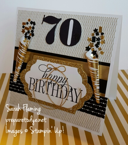 70th birthday card - Stampin' Up! Larger Than Life & Happy Birthday Everyone stamps, Winter Wonderland designer series paper - Sarah Fleming - Prepare to Dye