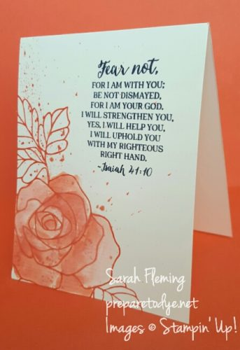Stampin' Up! Rose Wonder watercolored card - Sarah Fleming - Prepare to Dye - CAS