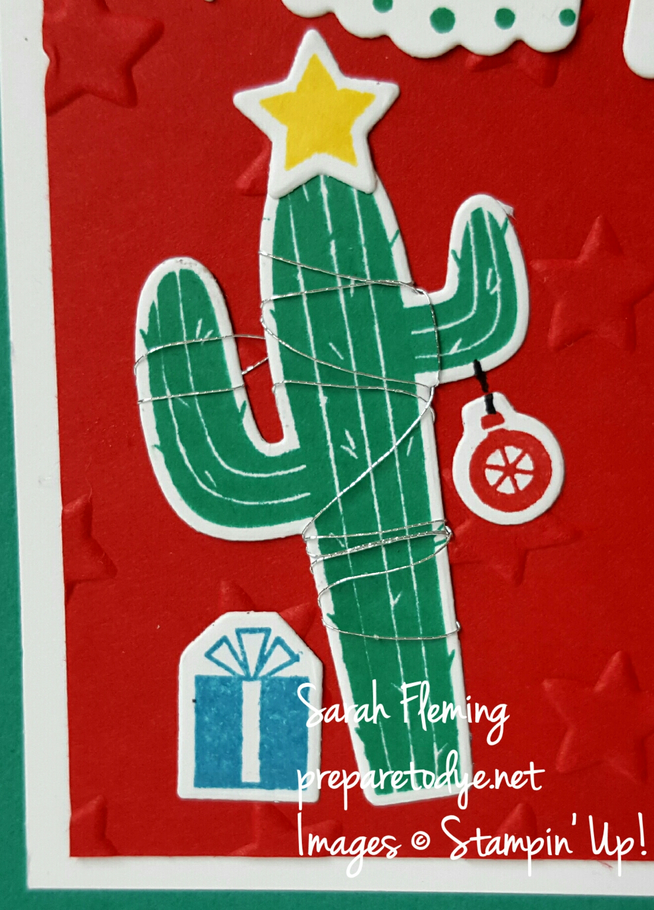 Use Stampin' Up!'s Birthday Fiesta bundle to make adorable Christmas cards! Birthday Fiesta, Fiesta Time framelits, Oh What Fun, Peaceful Pines, Perfect Pines framelits - Sarah Fleming - Prepare to Dye