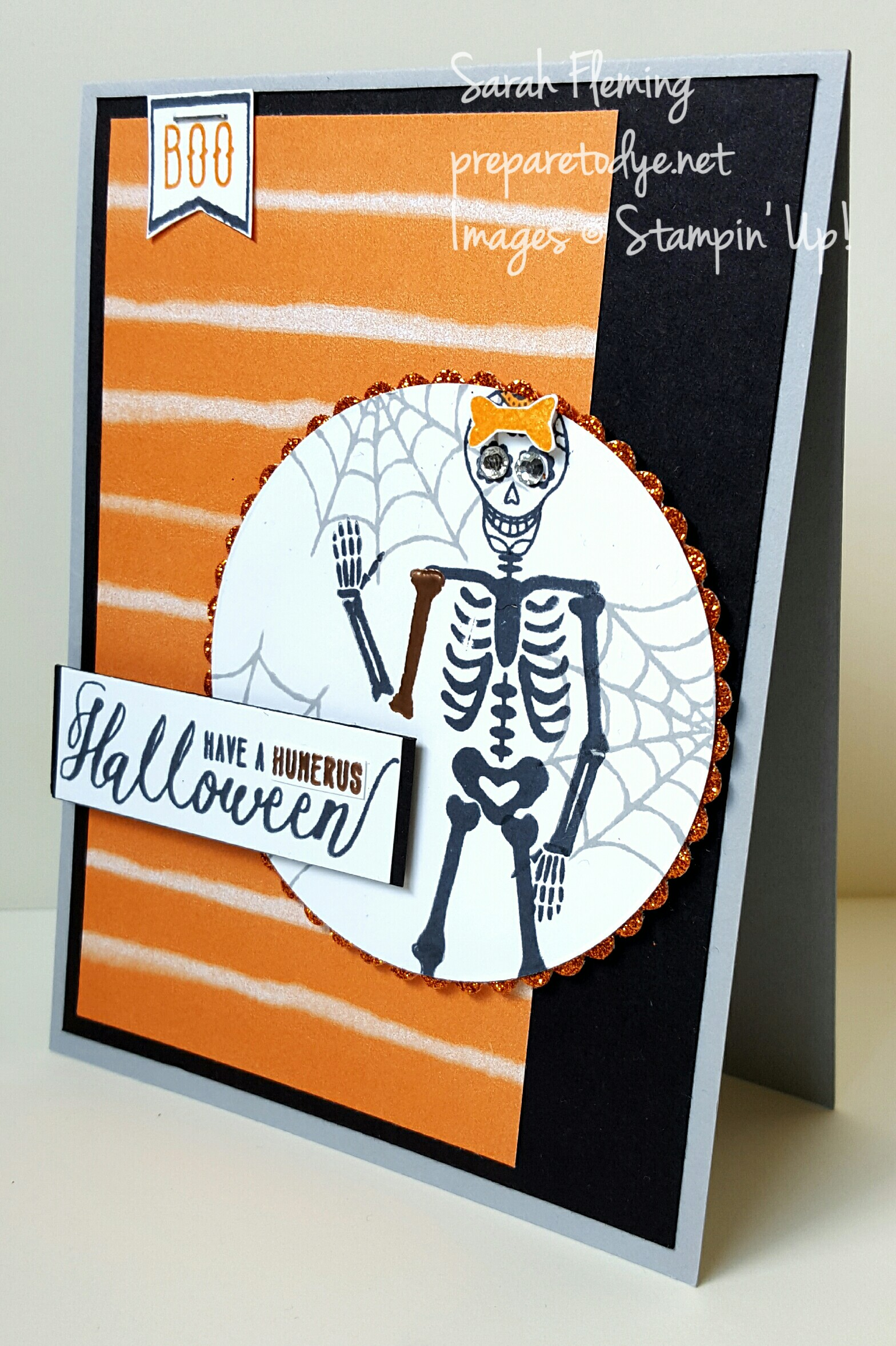 Stampin' Up! Halloween card using Mr. Funny Bones and Spooky Fun - Sarah Fleming - Prepare to Dye Papercrafts