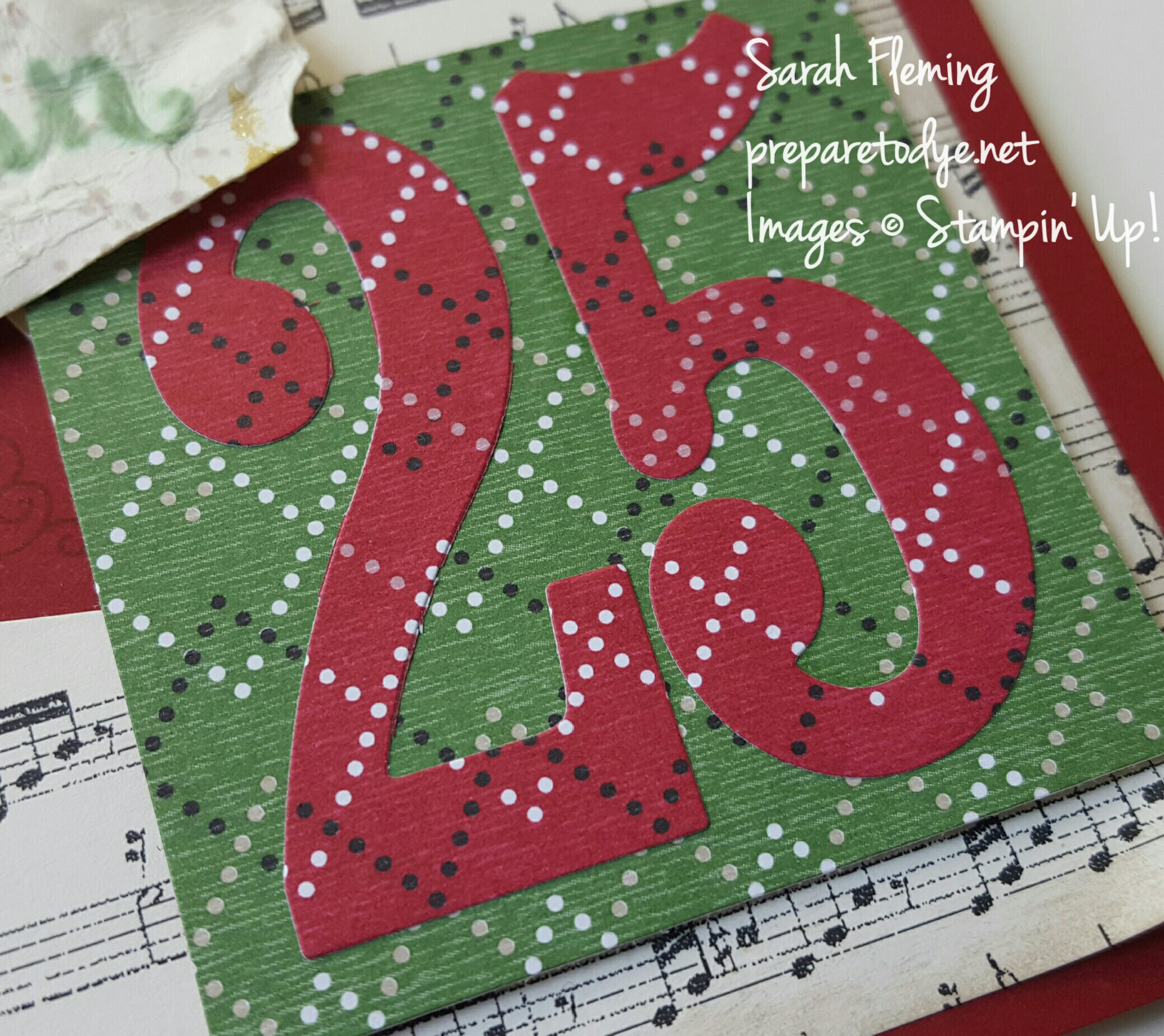 Stampin' Up! Large Numbers Framelits and Warmth & Cheer paper - Sarah Fleming - Prepare to Dye Papercrafts