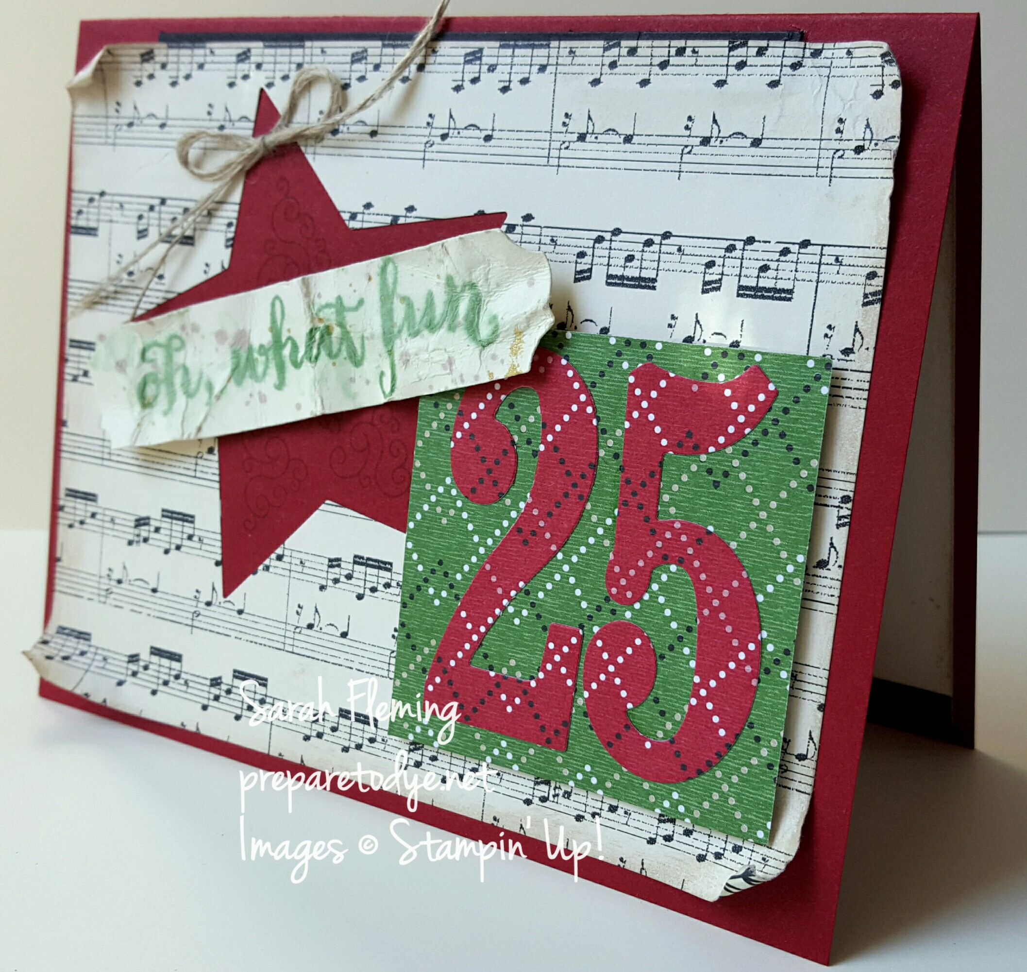 Stampin' Up! Oh What Fun and Festive Season stamps with This Christmas and Warmth & Cheer paper - Vintage Christmas card for Merry Monday #217 - Sarah Fleming - Prepare to Dye