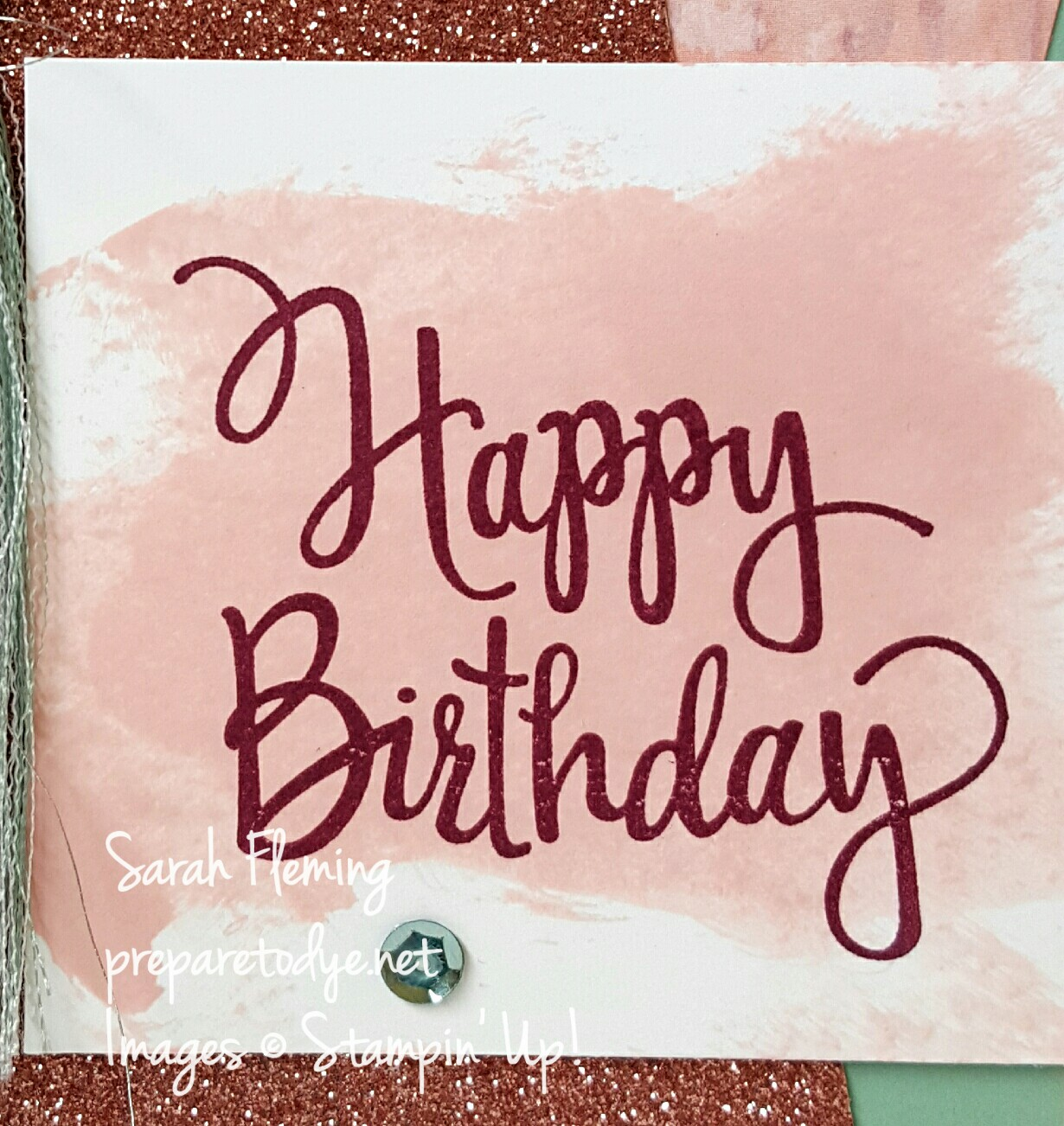 Stampin' Up! Stylized Birthday featuring Mint Macaron Mini Striped Ribbon - quick and easy handmade card - Sarah Fleming - Prepare to Dye Papercrafts