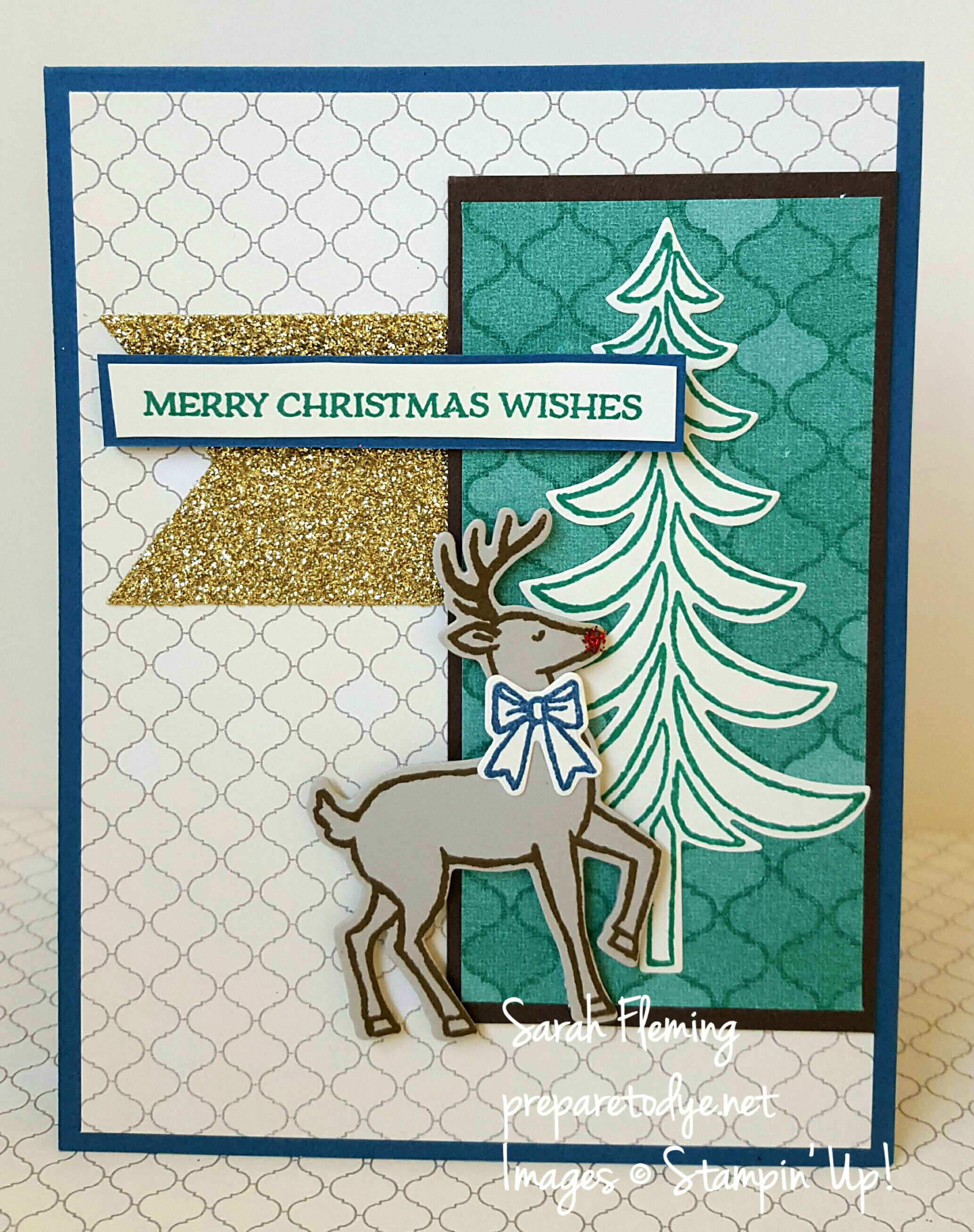 Stampin' Up! Santa's Sleigh bundle with Moroccan designer series paper - #GDP059 #FMS260 - Sarah Fleming - Prepare to Dye Papercrafts