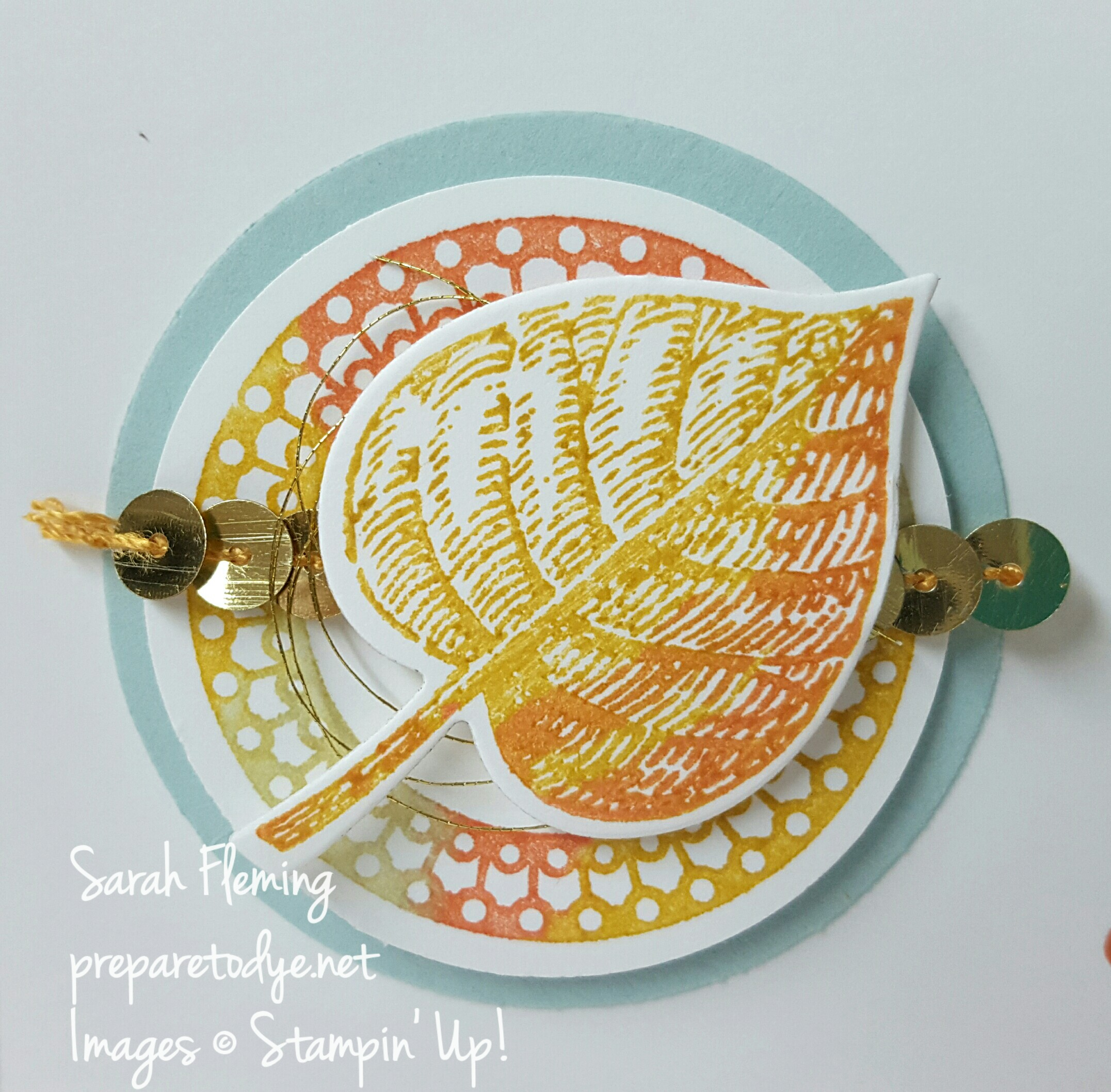 Stampin' Up! Vintage Leaves, Merriest Wishes, One Big Meaning stamps make a beautiful clean and simple fall-themed thank you card - Sarah Fleming - Prepare to Dye Papercrafts