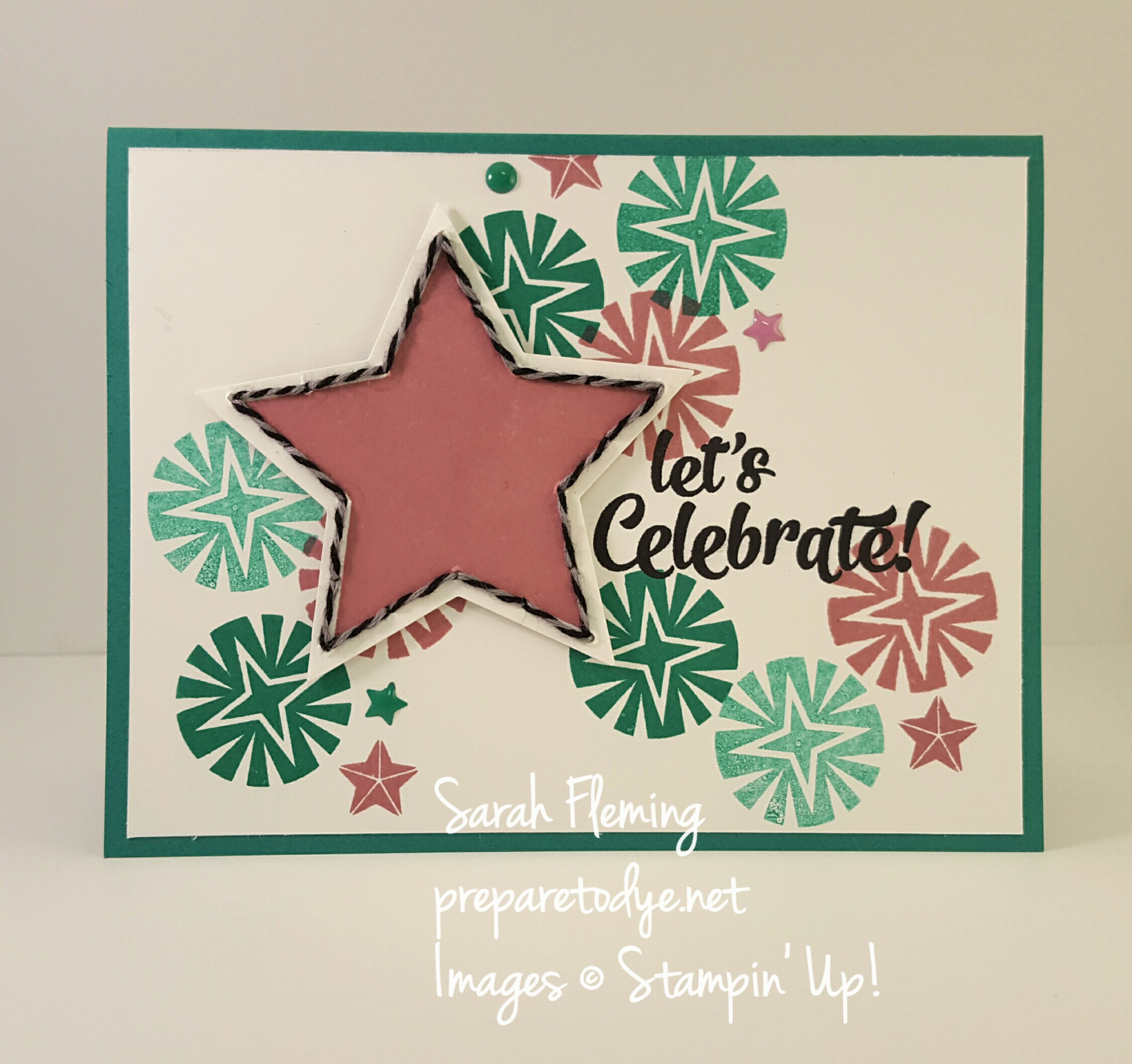 Stampin' Up! Festive Season and Confetti Celebration stamps and Festive Stitching Thinlits make a fabulous any-occasion card - handmade cards - Sarah Fleming - Prepare to Dye Papercrafts