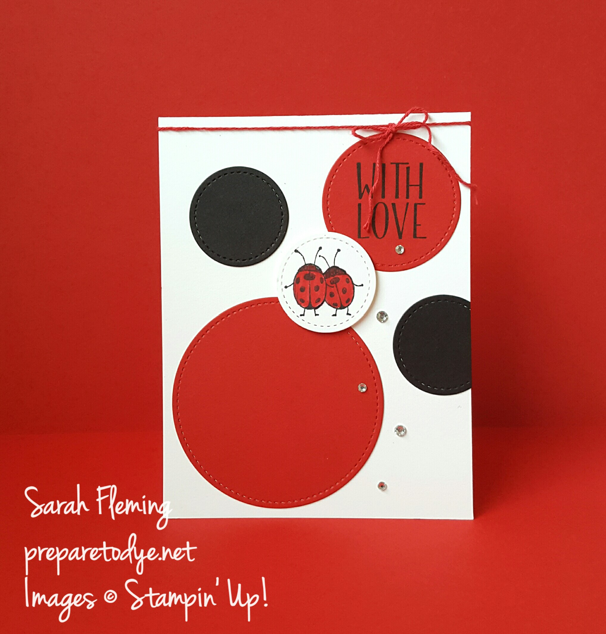 Stampin' Up! Tin of Tags stamps & Stitched Shapes Framelits - available November 28th - Handmade LOVE card - Sarah Fleming - Prepare to Dye Papercrafts