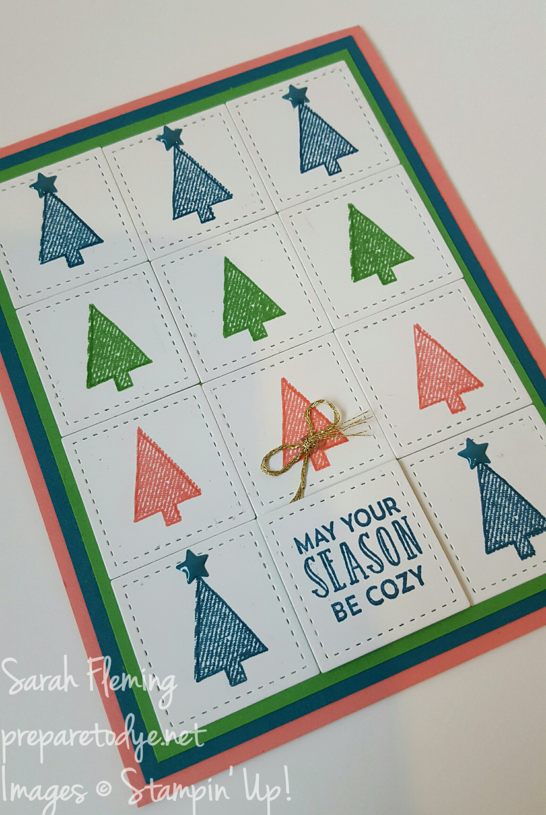 Stampin' Up! Stitched with Cheer stamps and Stitched Shapes Framelits make a fabulous combination! - Sarah Fleming - Prepare to Dye Papercrafts