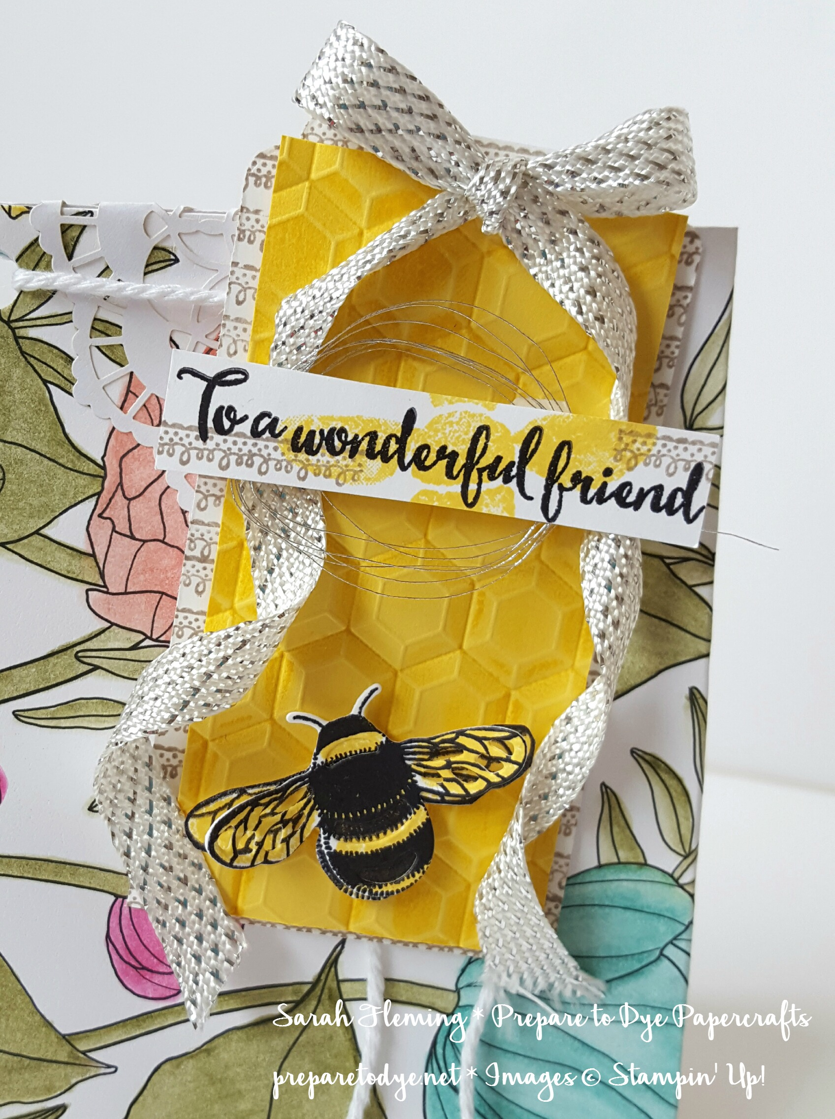 Stampin' Up! Inside the Lines designer series paper - Sale-A-Bration freebie with $50 purchase! Hexagons Dynamic embossing folder and Dragonfly Dreams bundle - Sarah Fleming - Prepare to Dye Papercrafts
