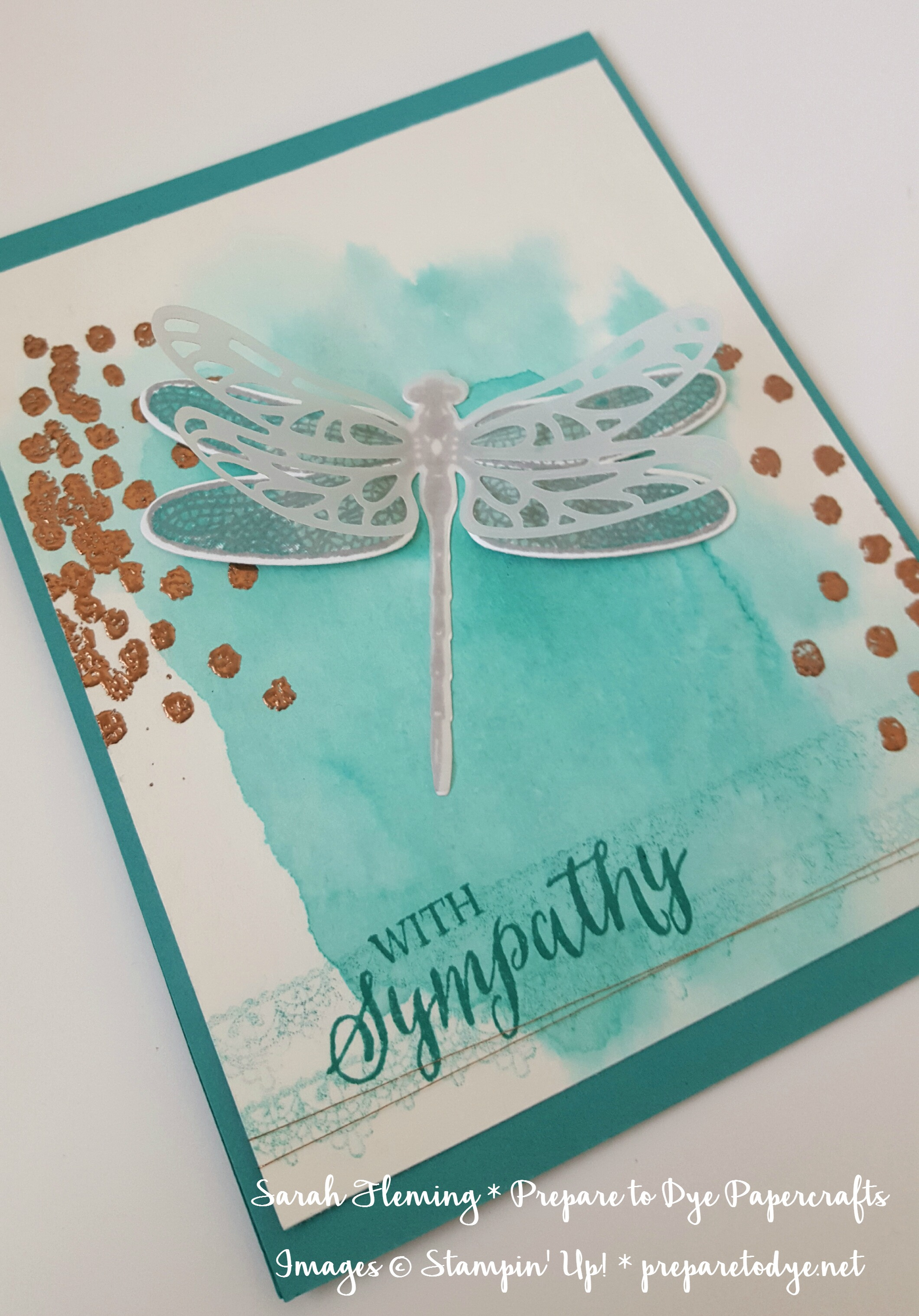 Stampin' Up! Dragonfly Dreams bundle - watercolor background with Rose Wonder and Delicate Details - 2017 Occasions catalog and Sale-A-Bration - Sarah Fleming - Prepare to Dye Papercrafts