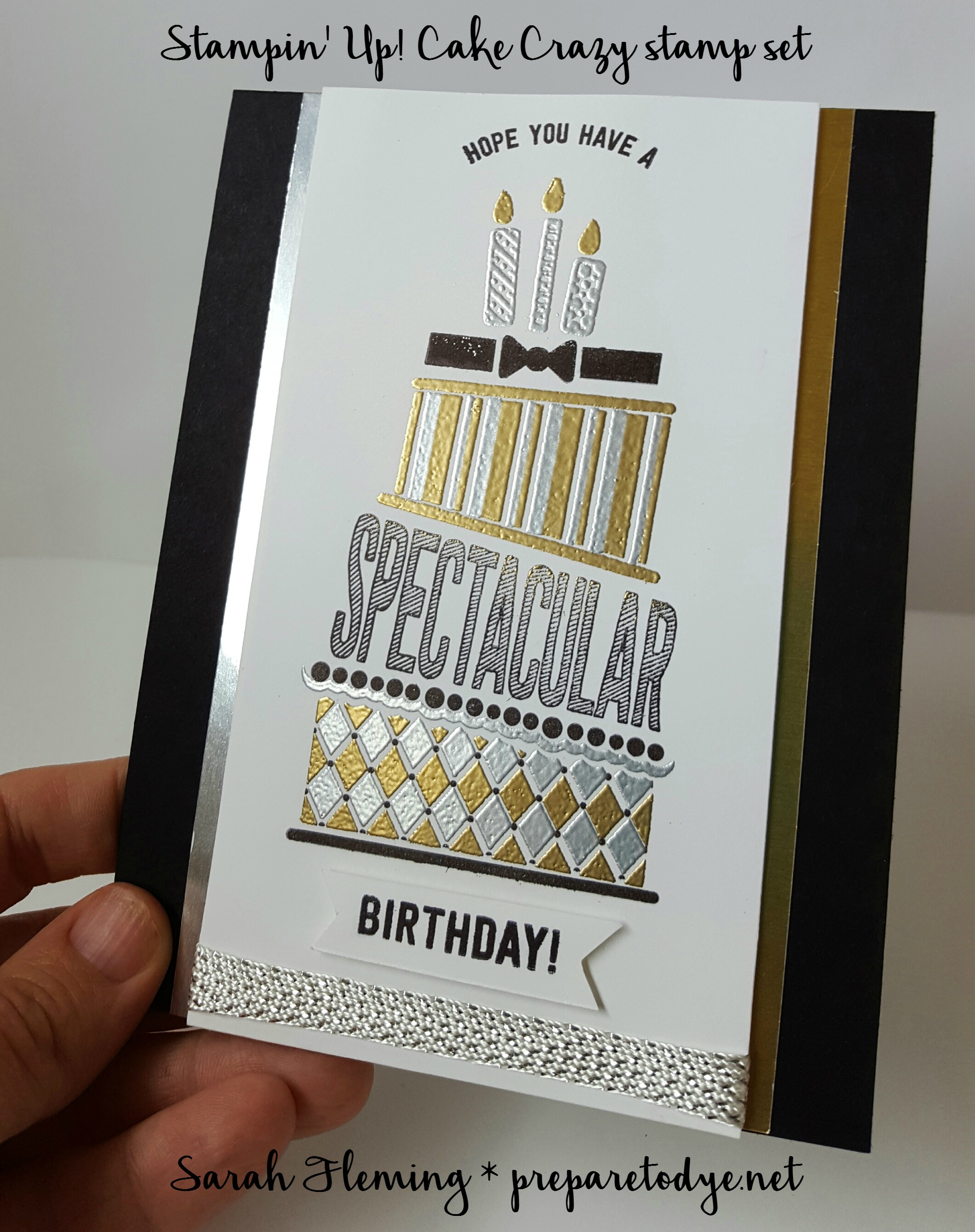 Stampin' Up! Cake Crazy black-tie card - Sarah Fleming - Prepare to Dye Papercrafts - handmade birthday card