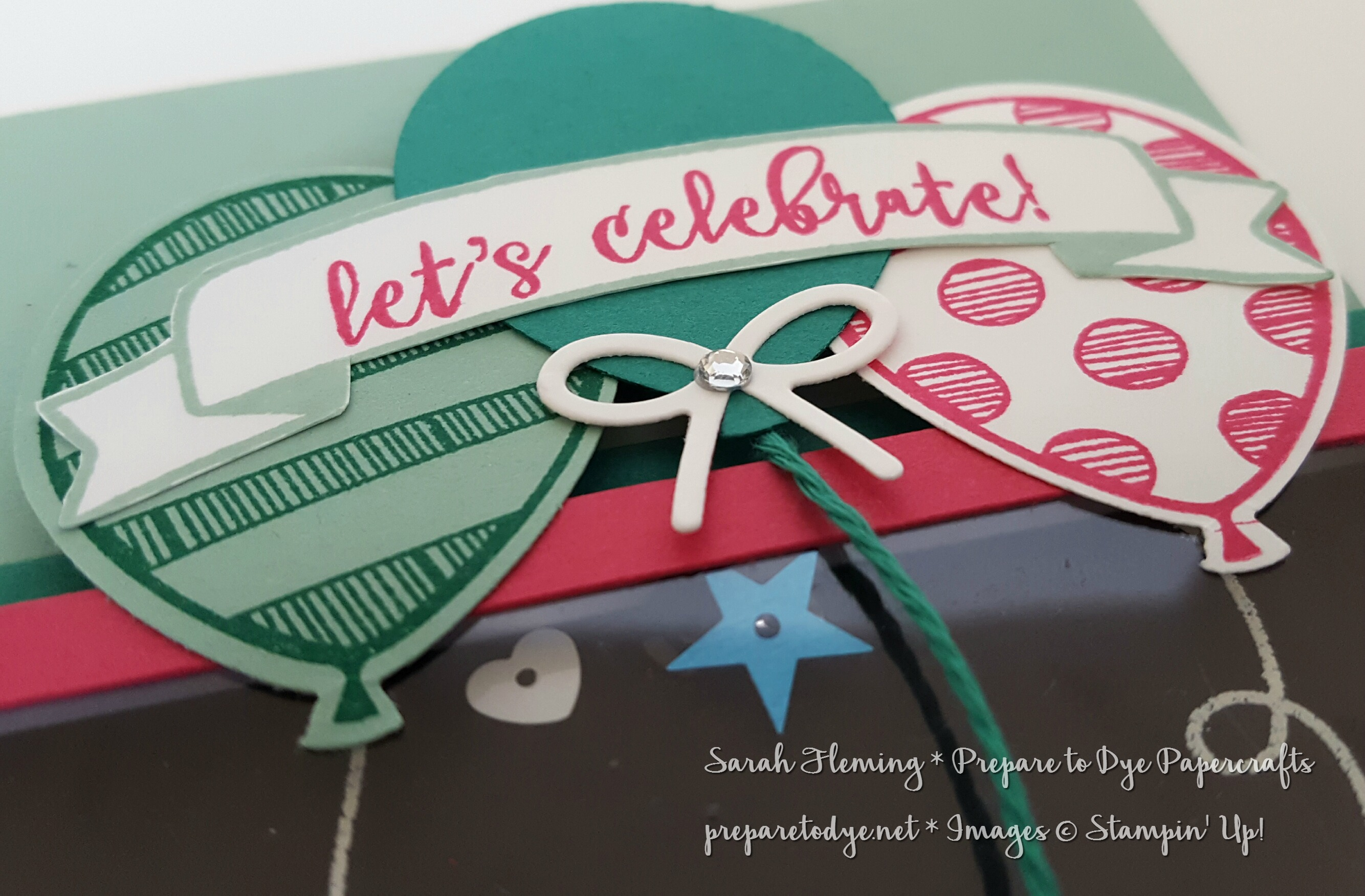 Stampin' Up! Balloon Adventures shaker card for Global Design Project 70 - #GDP070 - Sarah Fleming - Prepare to Dye Papercrafts