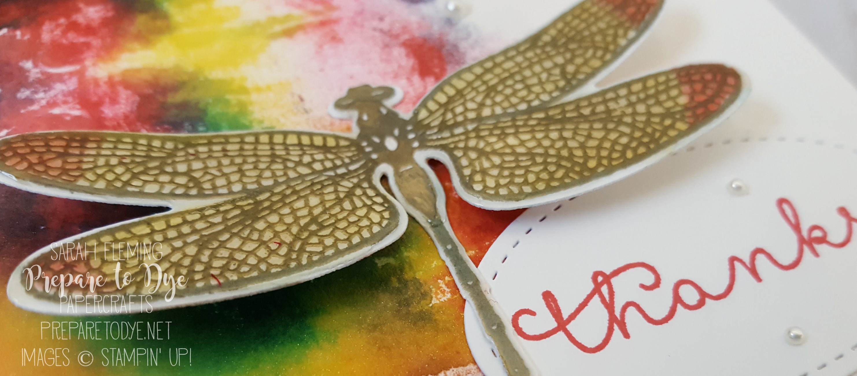 Stampin' Up! Dragonfly Dreams bundle with Baby Wipe Faux Batik Background - Sarah Fleming - Prepare to Dye Papercrafts - International Blog Highlight winners