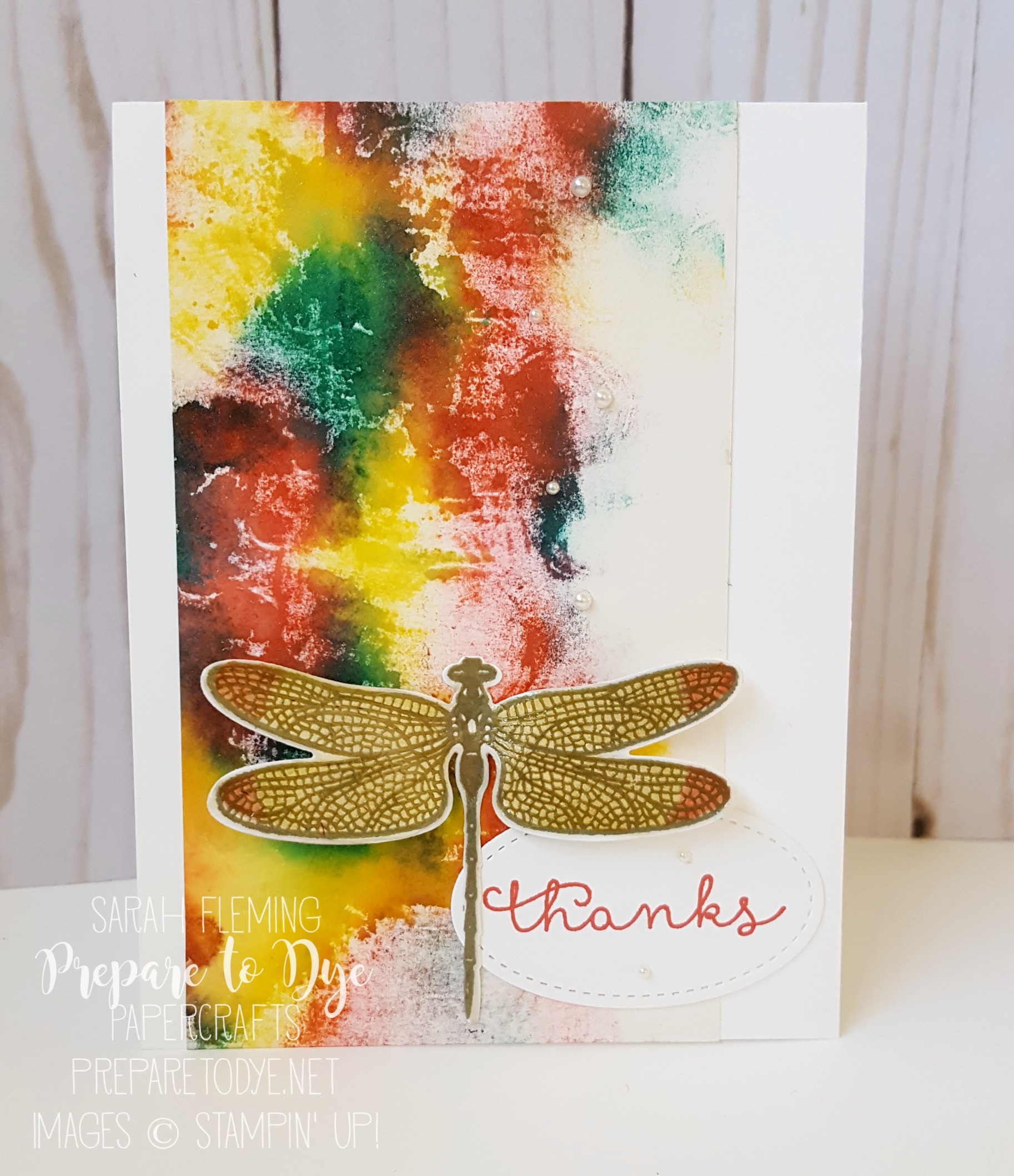 Stampin' Up! Dragonfly Dreams bundle - Baby Wipe Faux Batik background - Sarah Fleming - Prepare to Dye Papercrafts - International Blog Highlight winners