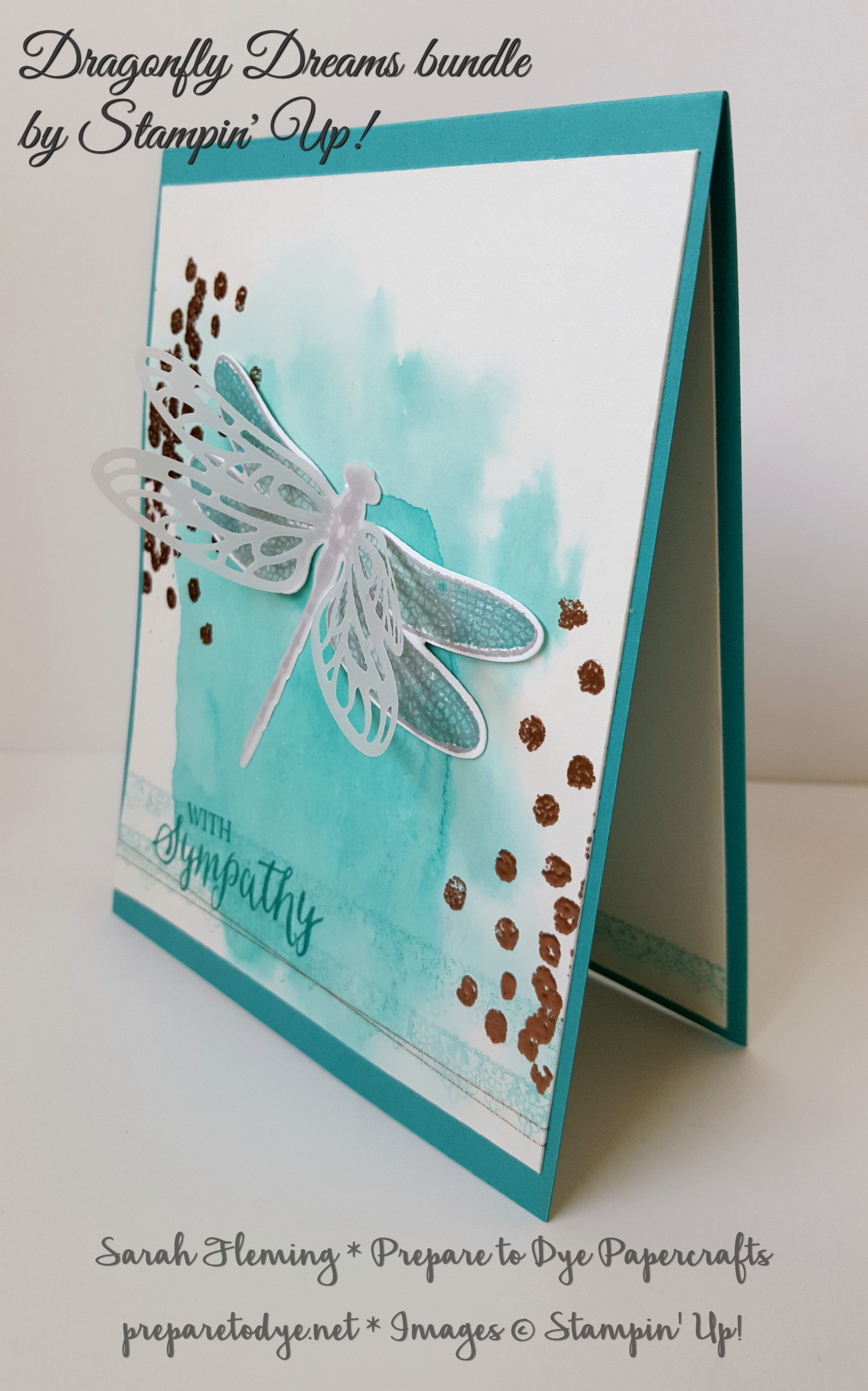 Stampin' Up! Dragonfly Dreams bundle - handmade sympathy card - watercolor background with heat embossing - Sale-A-Bration freebie Delicate Details - Sarah Fleming - Prepare to Dye Papercrafts