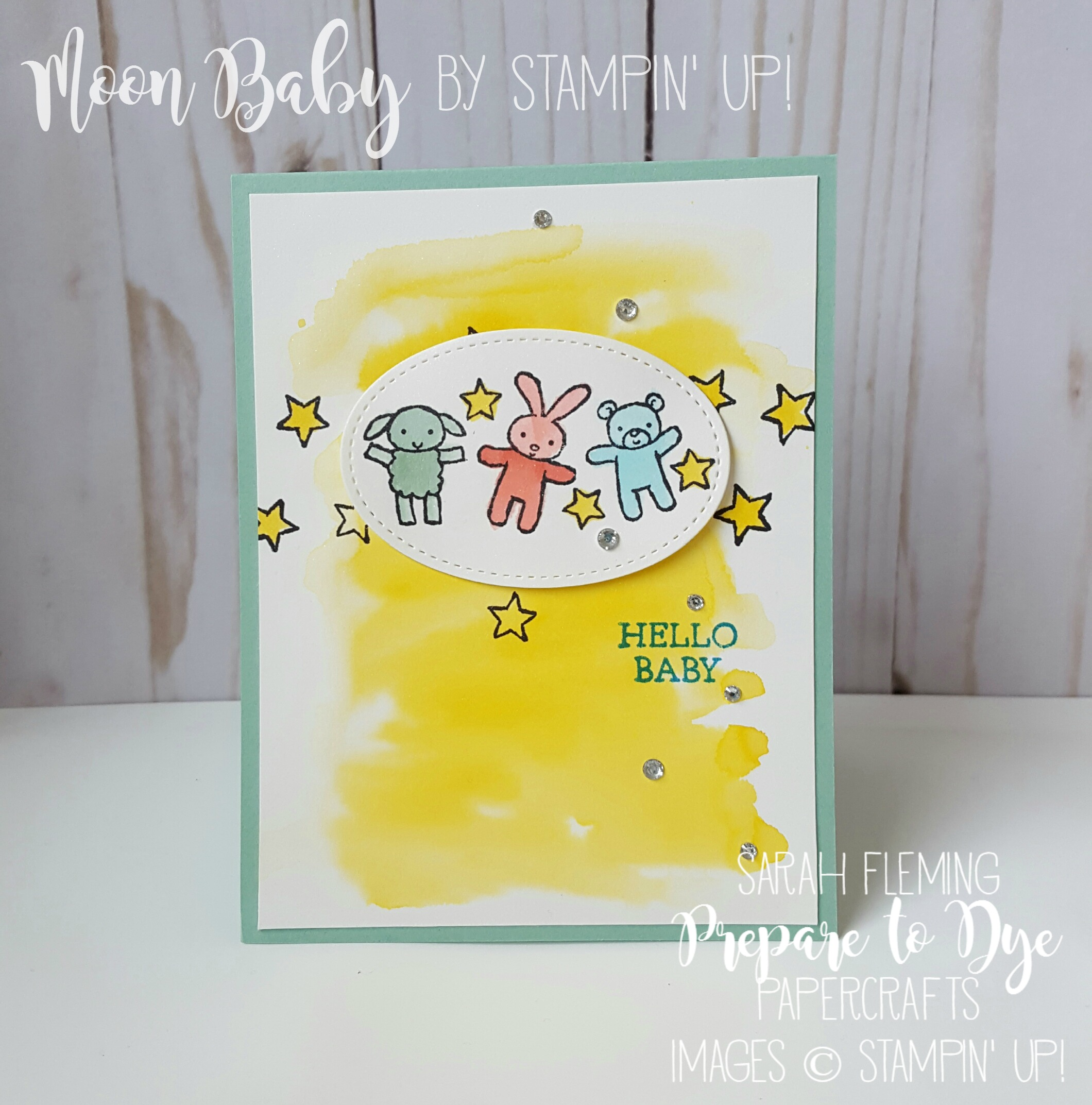 Moon Baby by Stampin' Up! with a watercolor background - handmade baby card - Sarah Fleming - Prepare to Dye Papercrafts - #GDP072