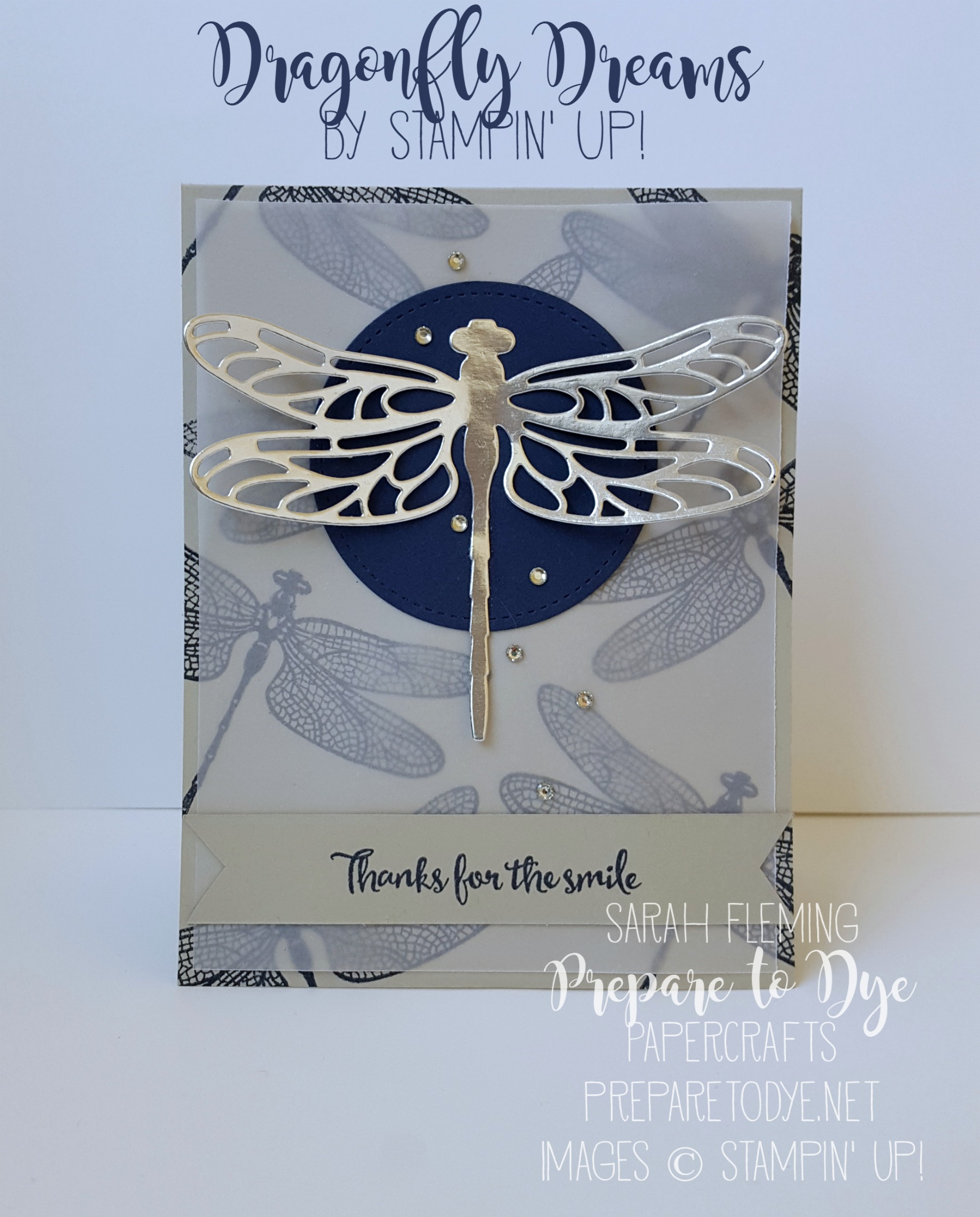 Stampin' Up! handmade masculine thank you card using Dragonfly Dreams stamps and Detailed Dragonfly Thinlits - Sarah Fleming - Prepare to Dye Papercrafts #GDP075