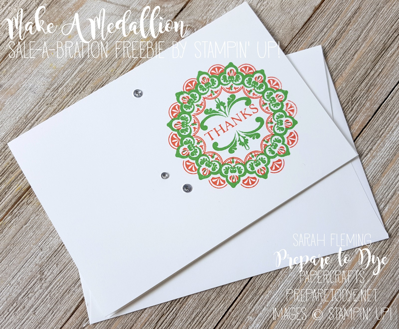 Stampin' Up! Make a Medallion stamp set - see 8 note cards and 8 Sale-A-Bration stamp sets - Sarah Fleming - Prepare to Dye Papercrafts