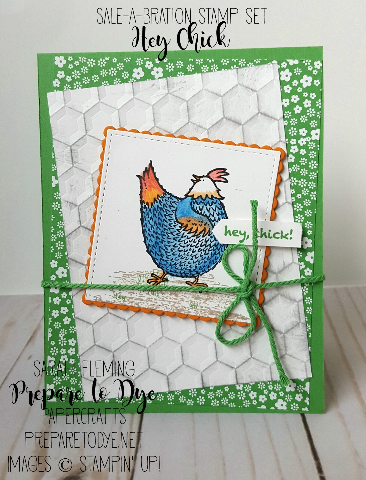 Stampin' Up! Hey Chick stamp set -- free Sale-A-Bration stamp set -- offer ends March 31 -- handmade birthday card -- Sarah Fleming -- Prepare to Dye Papercrafts