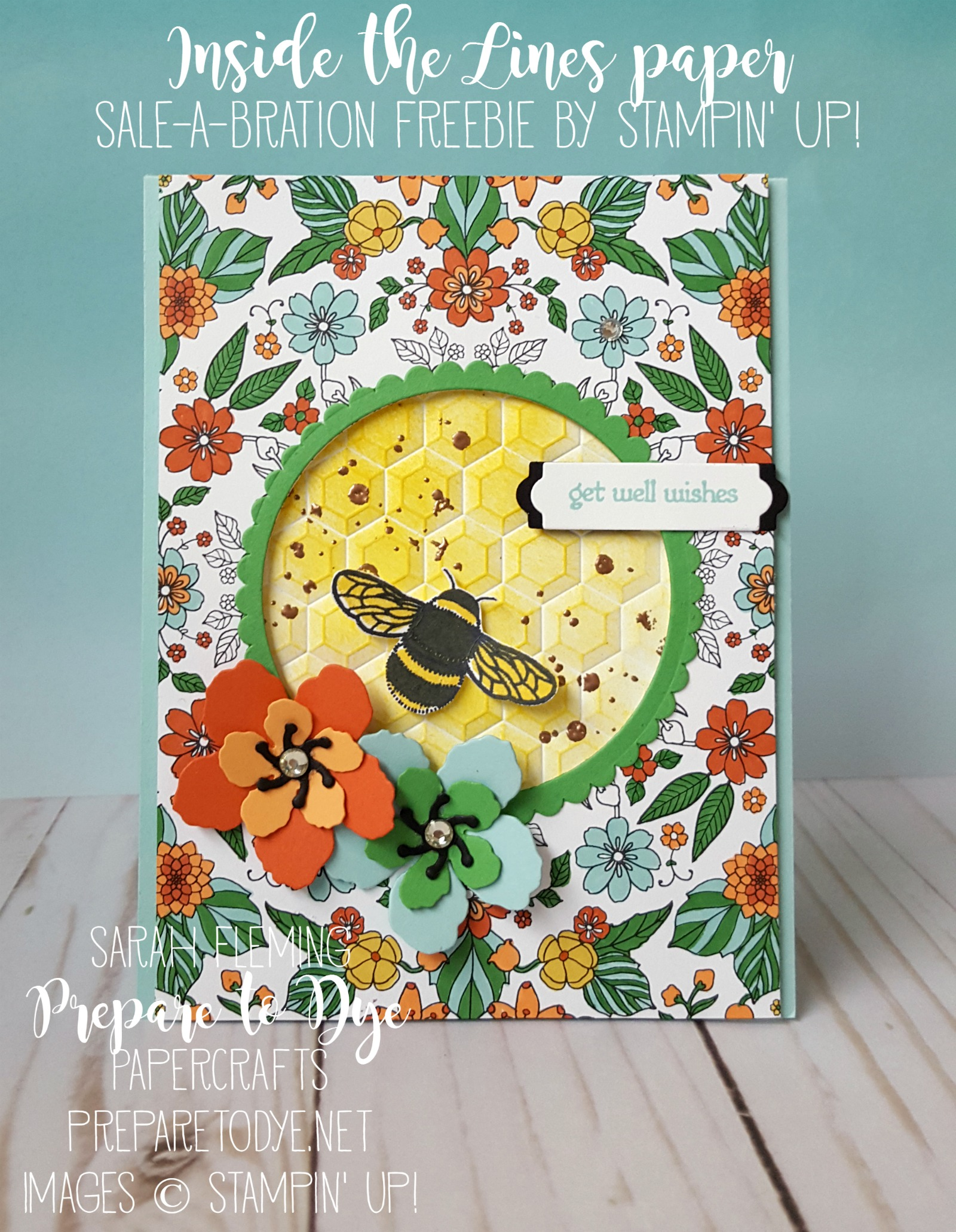 Stampin' Up! Inside the Lines designer series paper is only available until the end of March! - Botanical Builders & Dragonfly Dreams & Hexagons dynamic embossing folder - Sarah Fleming - Prepare to Dye Papercrafts