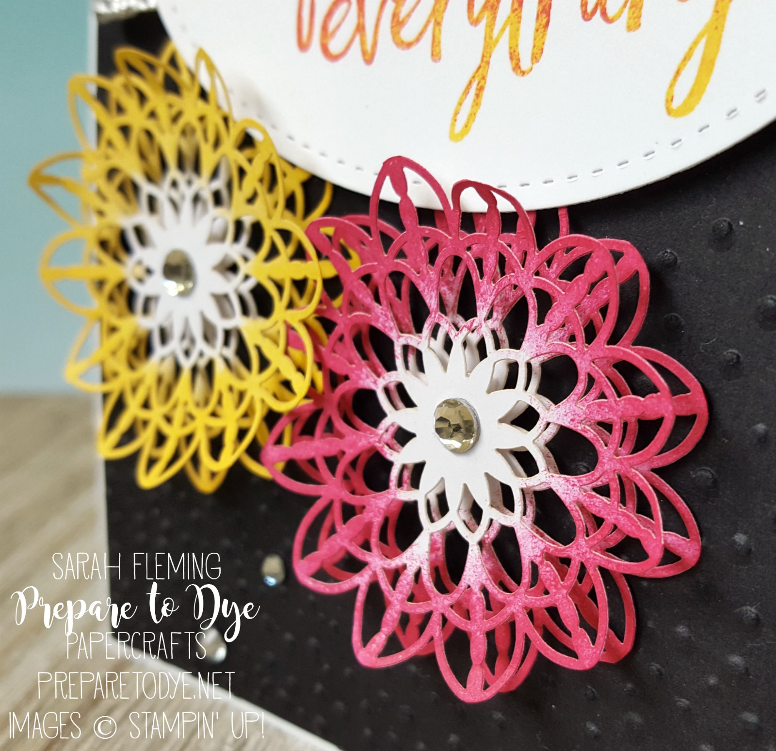 Stampin' Up! Lace Doilies sponged with Melon Mambo & Daffodil Delight ink - Sarah Fleming - Prepare to Dye Papercrafts
