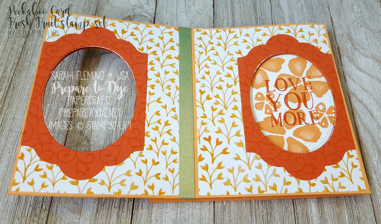 Stampin' Up! Fresh Fruit stamp set & Fruit Stand paper are retiring soon - Splitcoaststampers Creative Crew - Peek-a-Boo Card - Sarah Fleming - Prepare to Dye Papercrafts