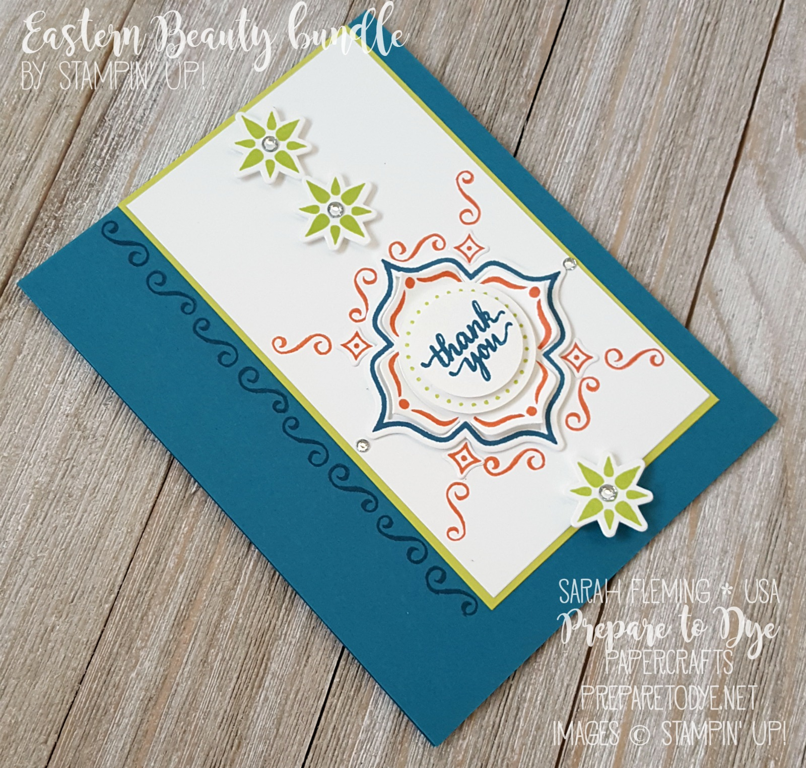 Stampin' Up! Eastern Beauty bundle handmade masculine card for Kylie's International Blog Highlight - stepped up - Sarah Fleming - Prepare to Dye Papercrafts