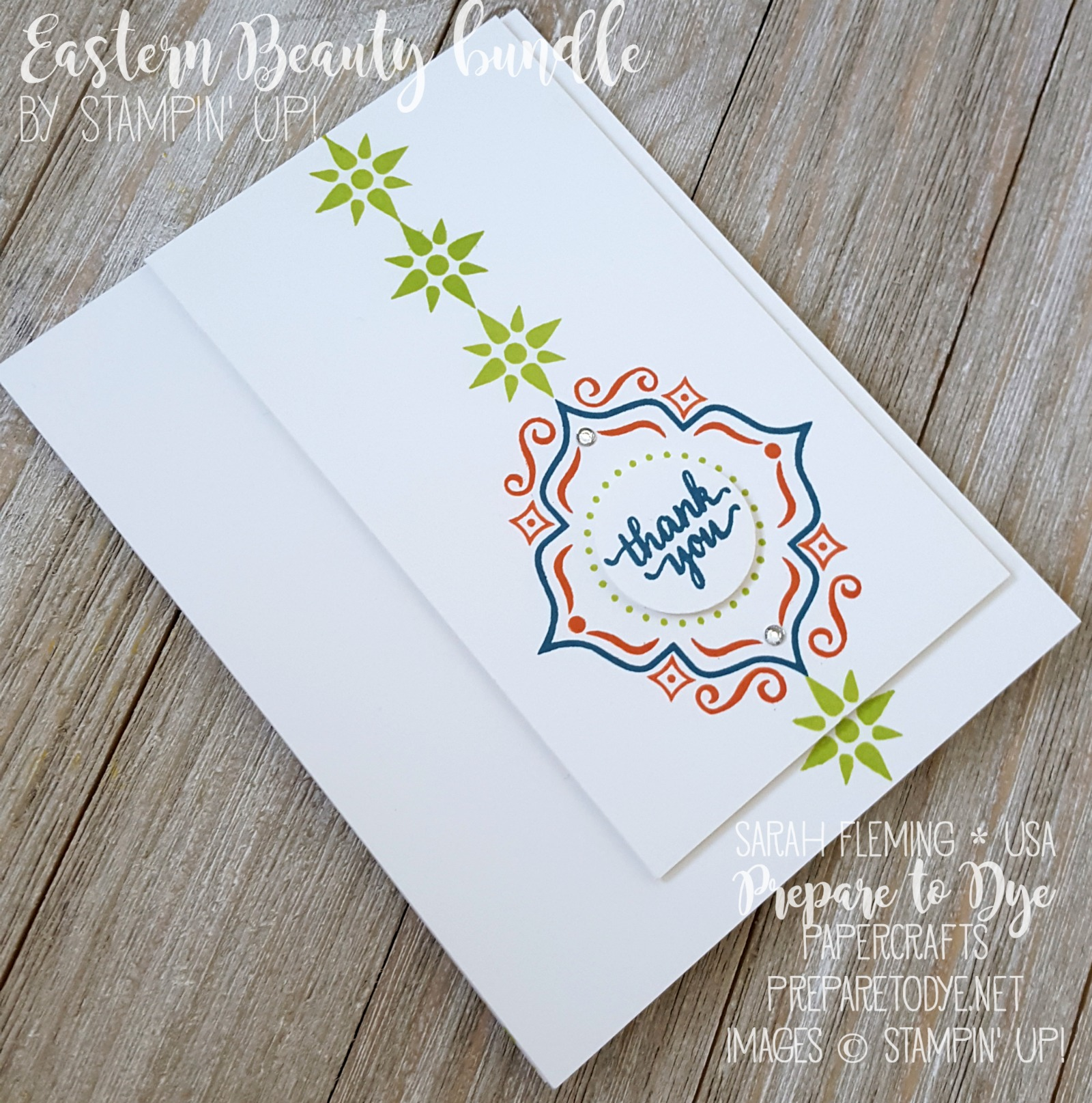 Stampin' Up! Eastern Beauty bundle handmade masculine card for Kylie's International Blog Highlight - CAS - clean and simple - Sarah Fleming - Prepare to Dye Papercrafts