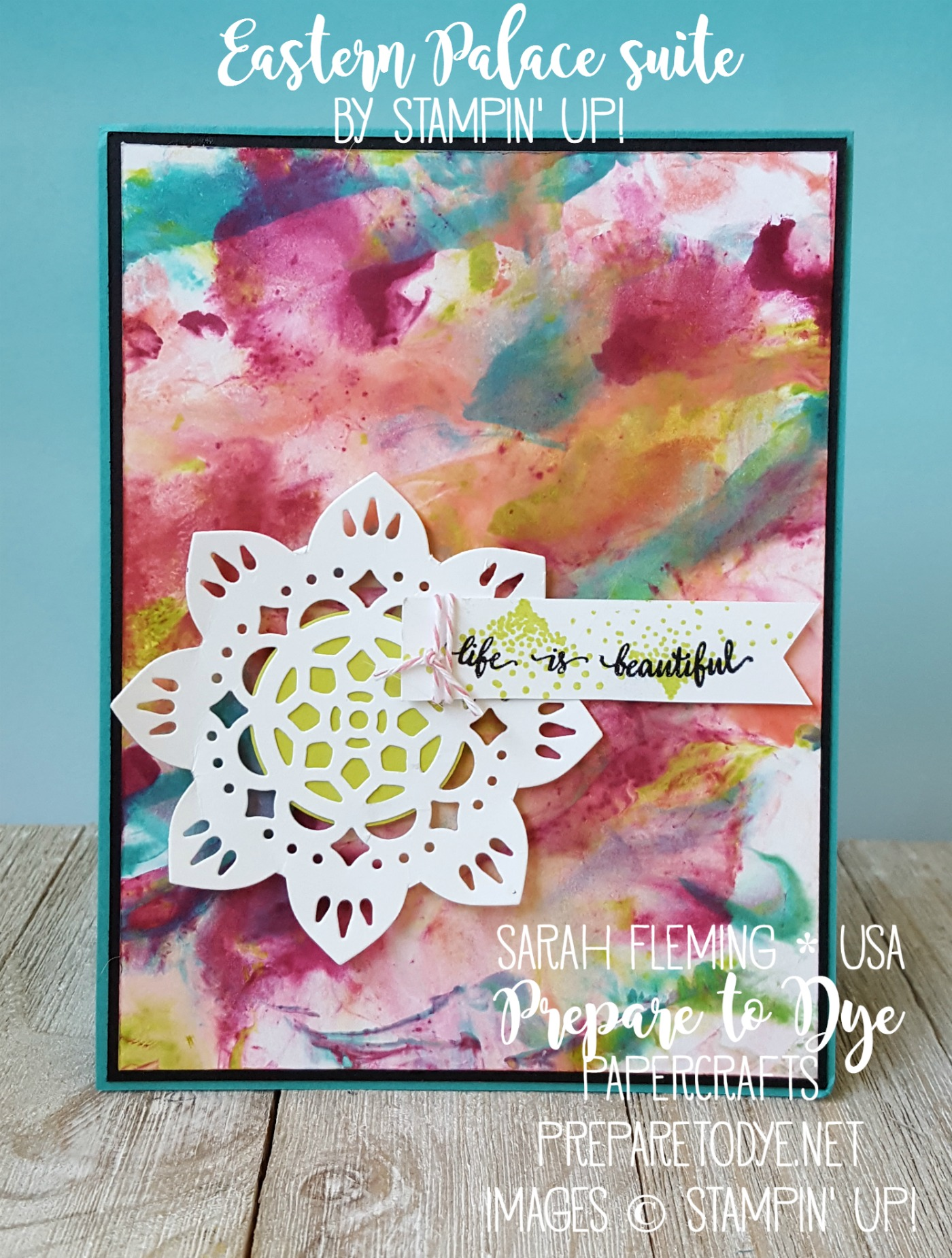 Stampin' Up! Eastern Beauty bundle with shaving cream background - Eastern Palace Suite - Sarah Fleming - Prepare to Dye Papercrafts