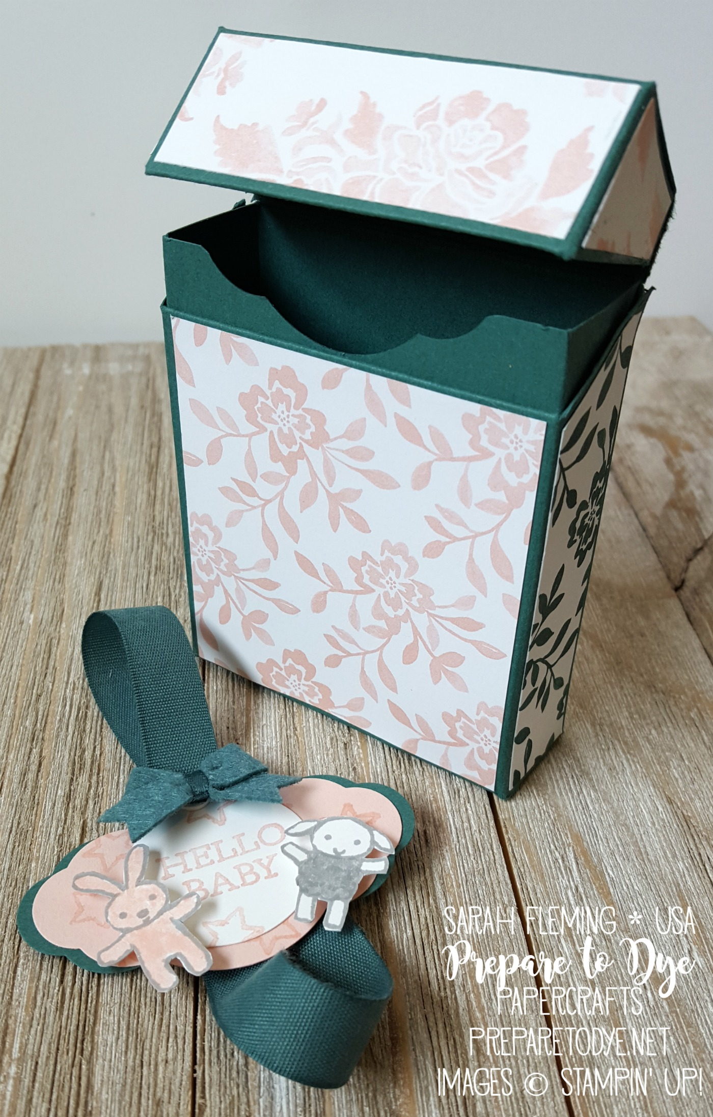 Stampin' Up! Moon Baby stamp set and Fresh Florals DSP stack - Flip Top Box at Splitcoaststampers - Pretty Label punch, In Color Bitty Bows - baby girl gift set - Creative Crew - Sarah Fleming - Prepare to Dye Papercrafts